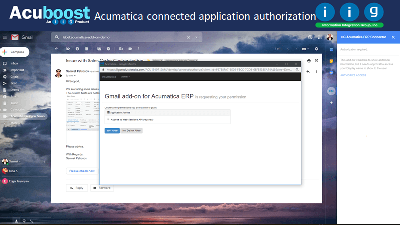 Acumatica connected application authroized