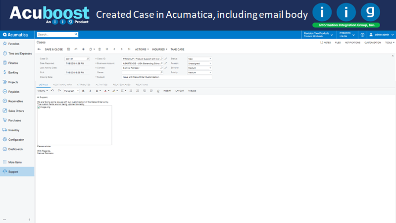 Created Case in Acumatica, including email body