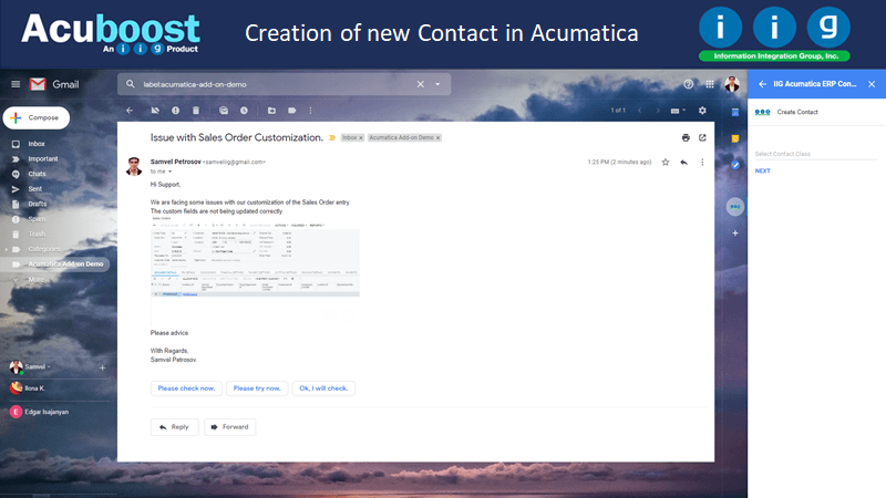Creation of new Contact in Acumatica
