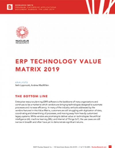 ERP Technology Value Matrix 2019