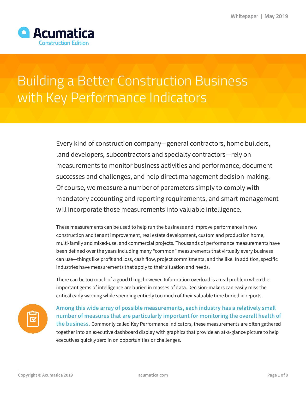 Construction KPI Dashboard: Can Your Software Do This?, page 0