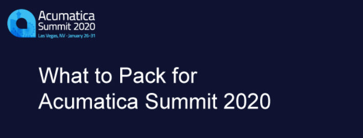 What to Pack for Acumatica Summit 2020
