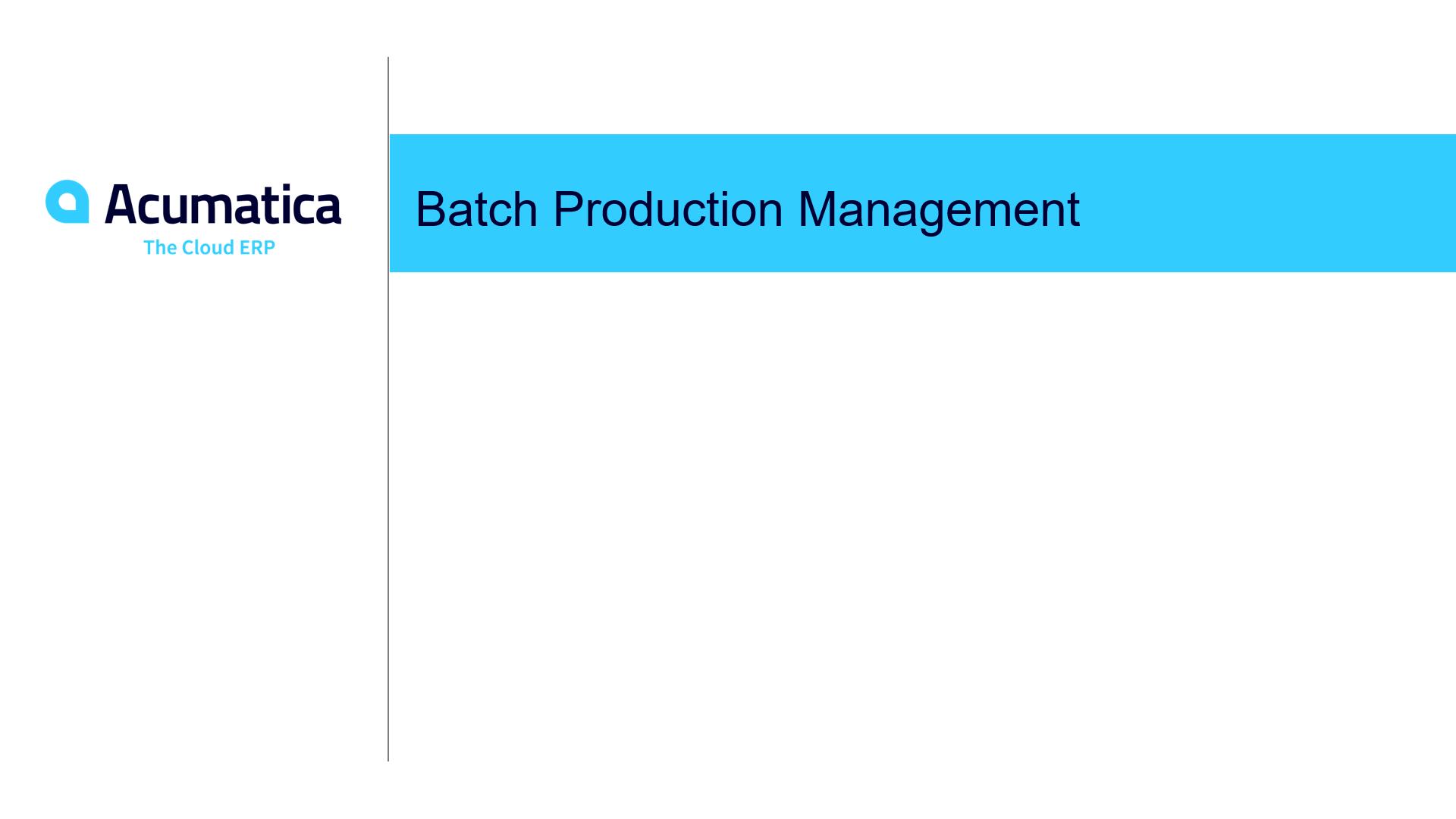 Batch Production Management