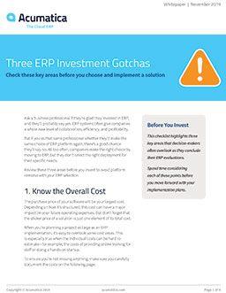 Three ERP Investment Gotchas