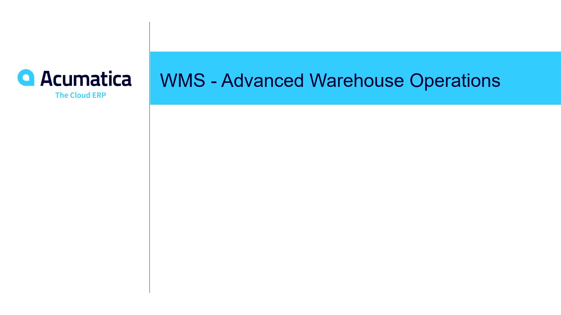 WMS - Advanced Warehouse Operations