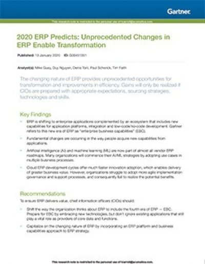 2020 ERP Predicts: Unprecedented Changes in ERP Enable Transformation