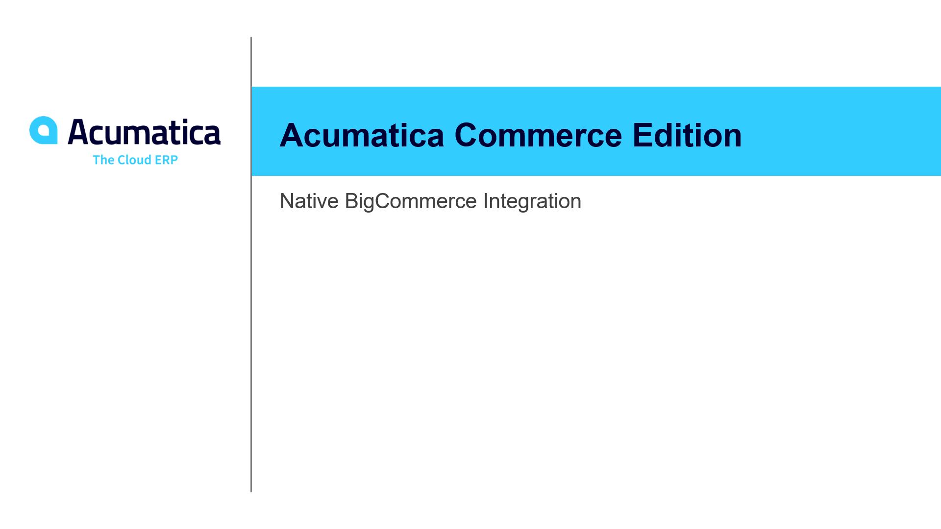 2020 R1 BigCommerce Integration