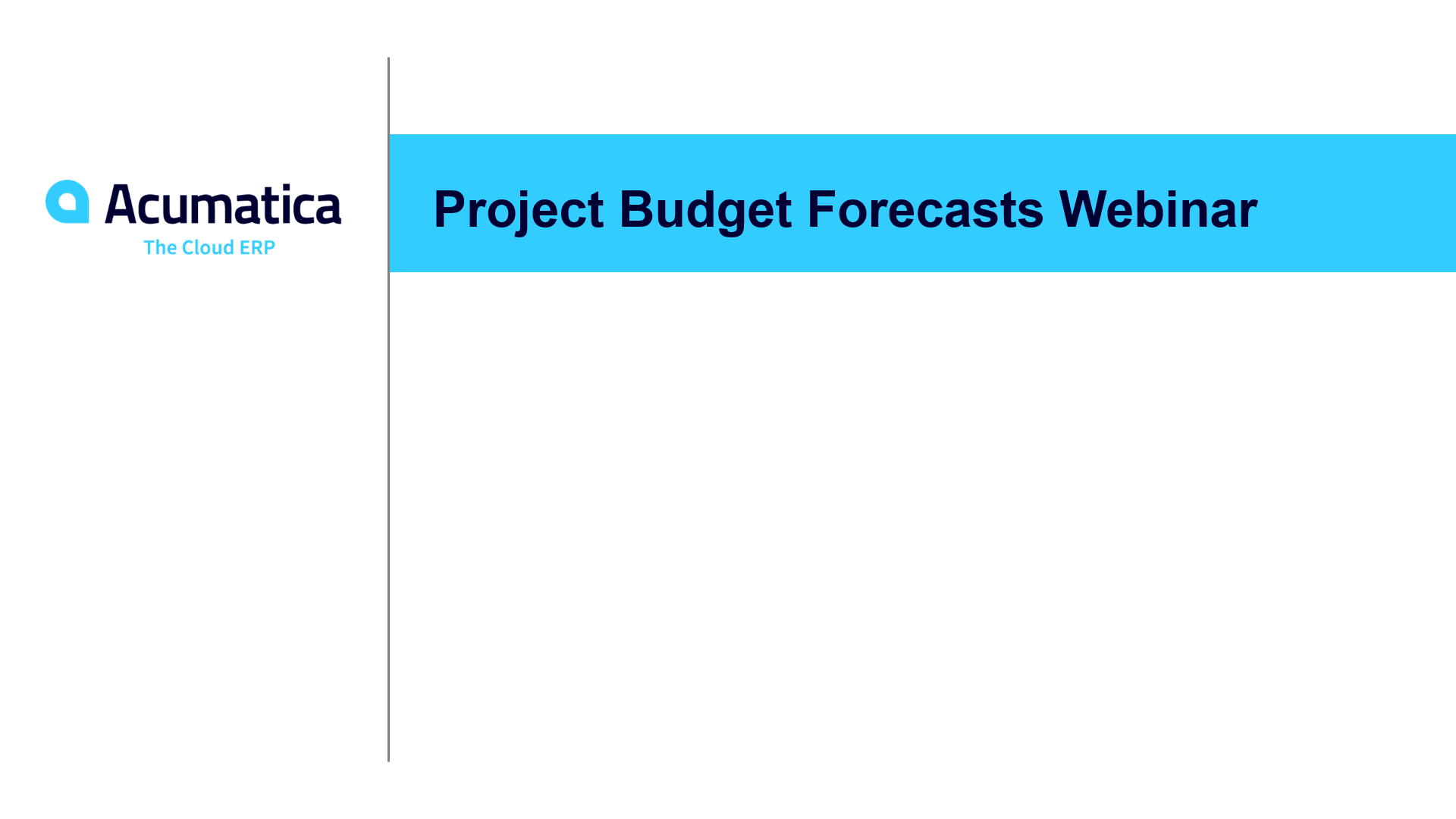 Project Budget Forecasts Webinar (May 2019)