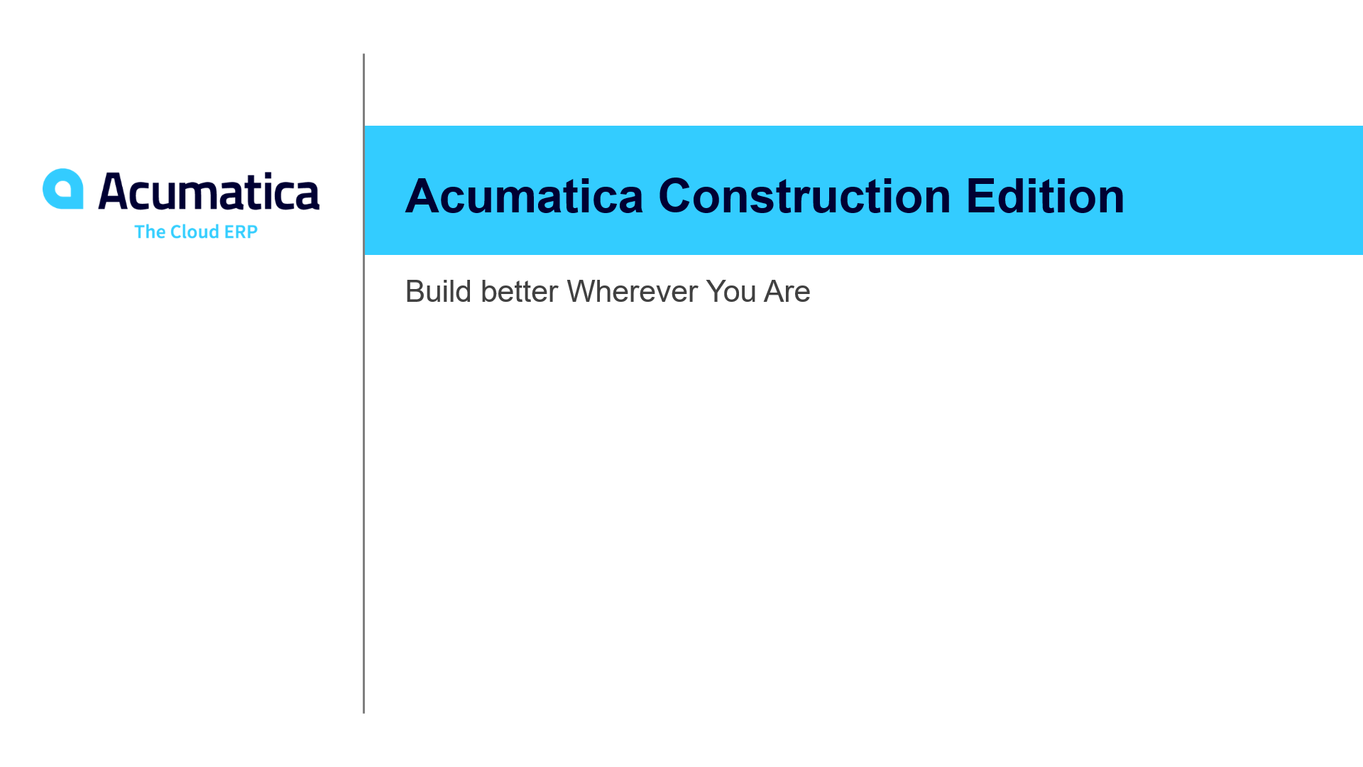 Acumatica Construction Edition Overview