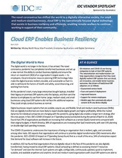 Cloud ERP Enables Business Resiliency