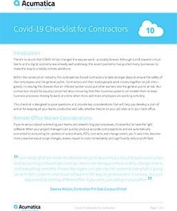 COVID-19 Checklist for Contractors