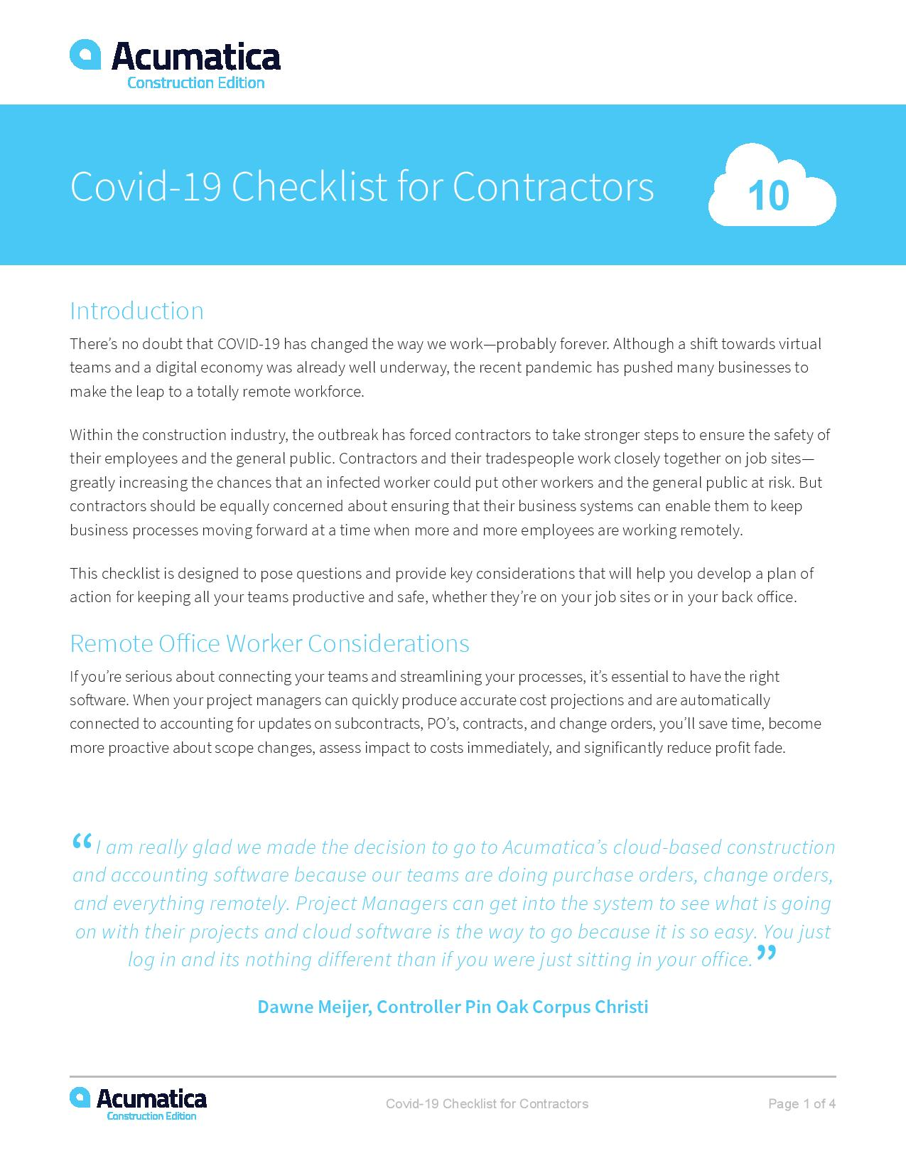 COVID-19 Checklist for Contractors, page 0