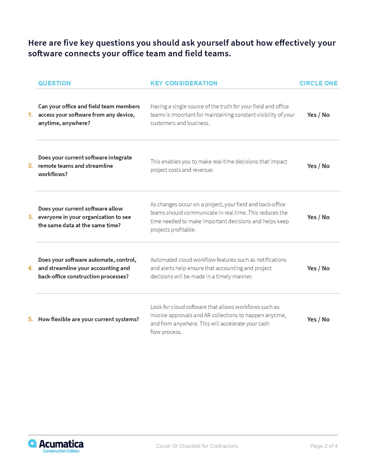 COVID-19 Checklist for Contractors, page 1