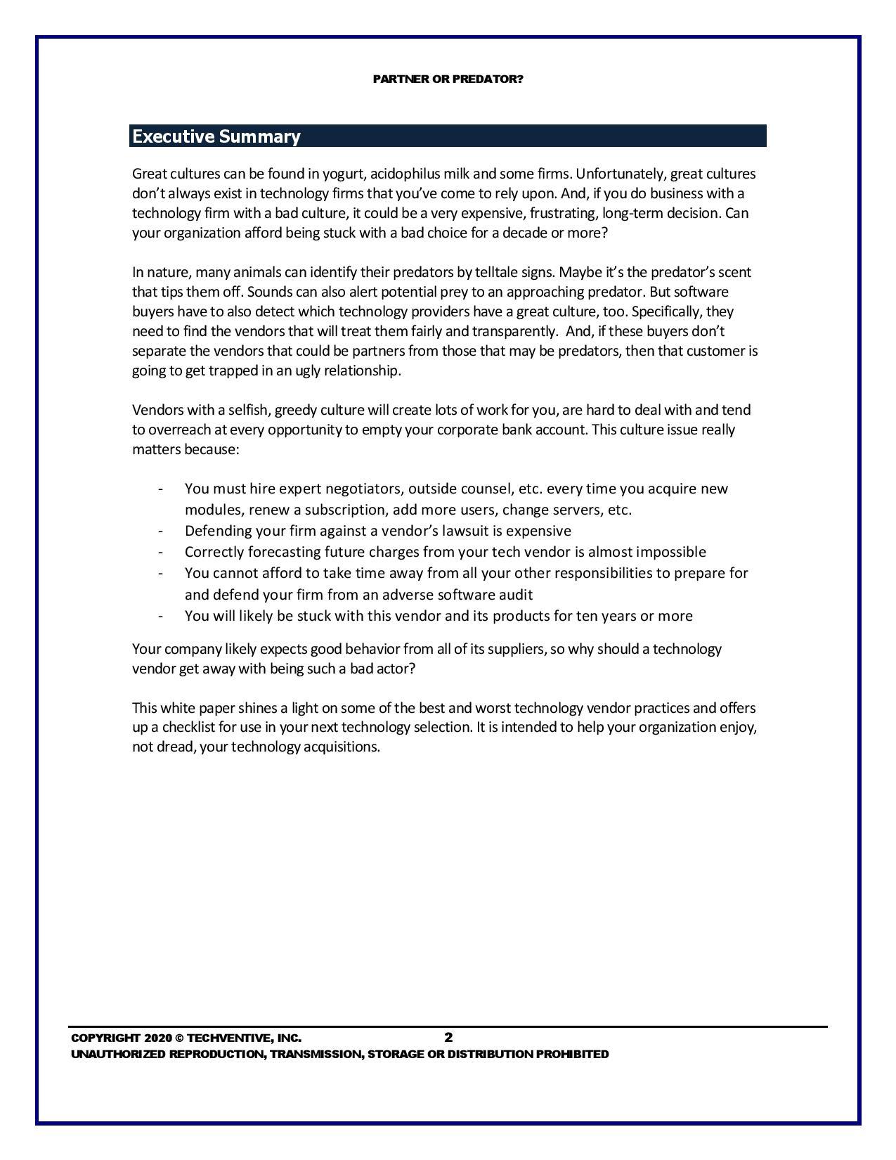 ERP Vendor Selection: Find a Partner, Not a Predator, page 1