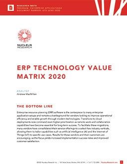 ERP Technology Value Matrix 2020