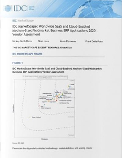 IDC MarketScape: Worldwide SaaS and Cloud-Enabled Medium-Sized/Midmarket Business ERP Applications 2020 Vendor Assessment