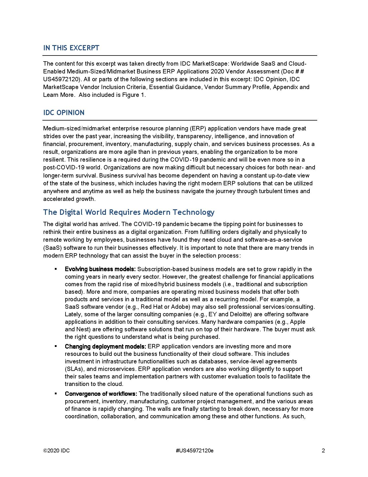 ERP Vendors Assessed: How Modern Solutions Can Enable the Digital Enterprise, page 0