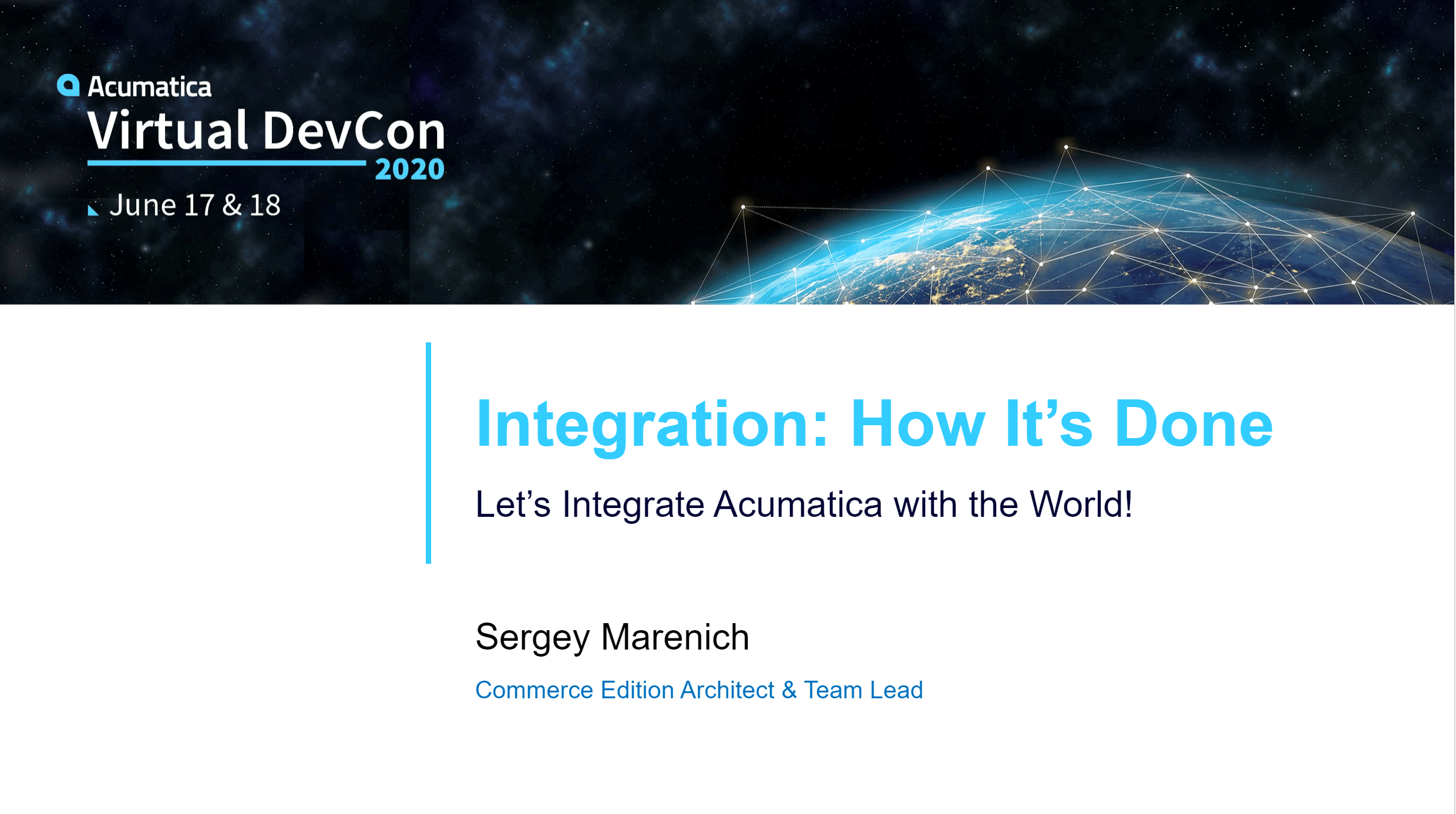 DevCon 2020 - Integration:  How It's Done