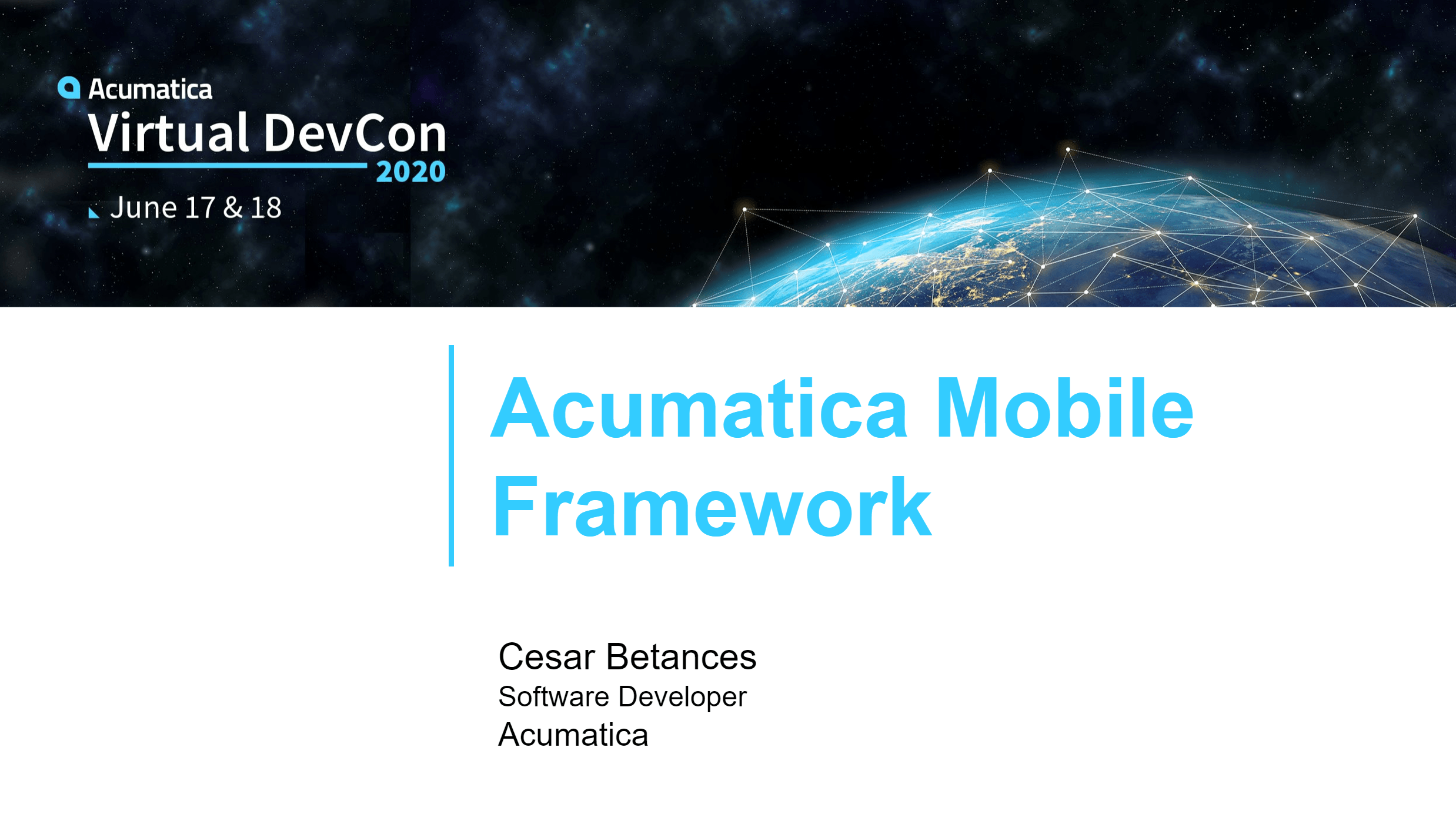 DevCon 2020 - Acumatica Mobile Framework