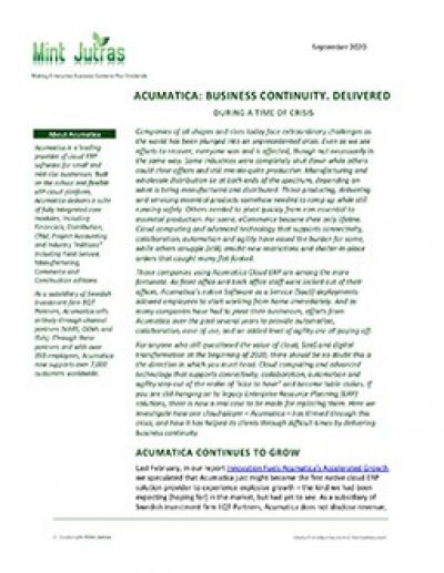 Acumatica: Business Continuity. Delivered