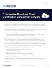 5 Undeniable Benefits of Cloud Construction Management Software