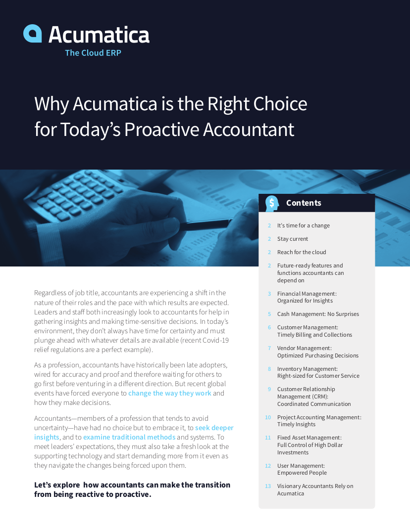 Why Acumatica is the Right Choice for Today's Proactive Accountant
