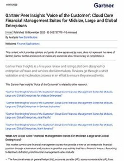 Gartner Peer Insights 'Voice of the Customer': Cloud Core Financial Management Suites for Midsize, Large and Global Enterprises