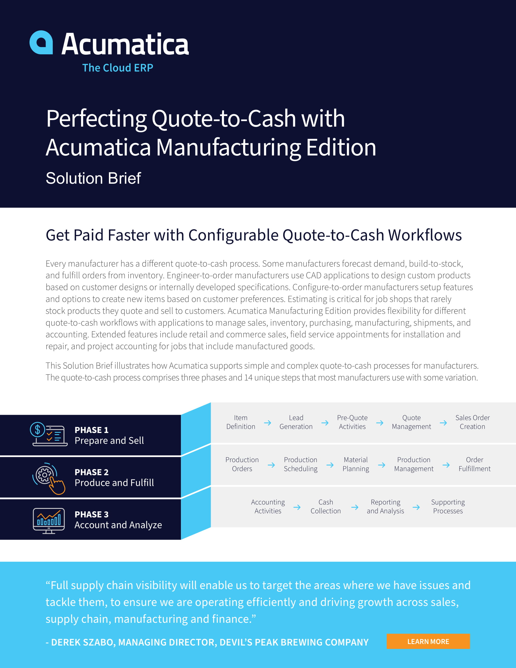 Solution Brief: Perfecting Quote-to-Cash with Acumatica Manufacturing Edition