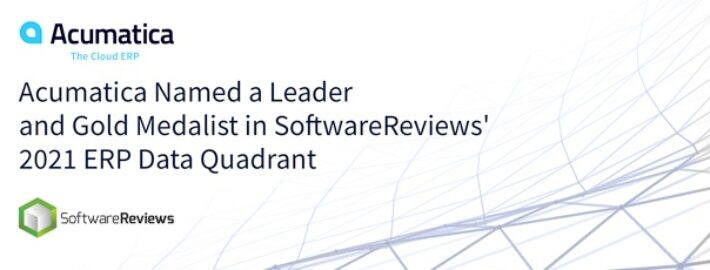Acumatica Named a Leader and Gold Medalist in SoftwareReviews' 2021 ERP Data Quadrant