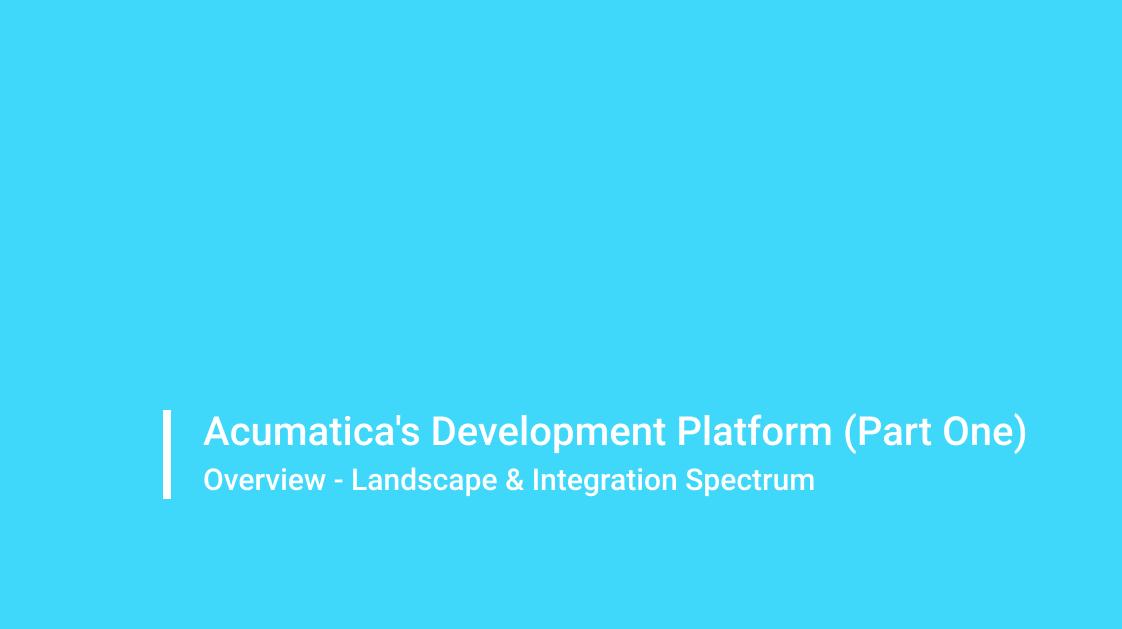 Acumatica Development Platform - Part I